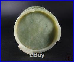 Large Antique Old Chinese Nephrite Celadon Jade Brush Pot DOUBLE POWERFUL DRAGON