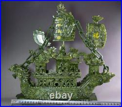 Large China Hand Carved 100% Natural Jade Dragon Incense statue Dragon Boat