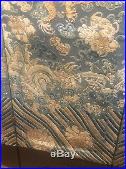 Large Chinese 19th C. Blue Ground and Golden Thread 5-Clawed Dragon Screen
