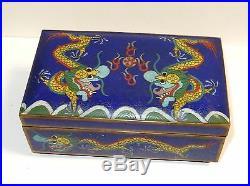 Large Chinese Dragon Cloisonne Blue Enamel Trunk Shape Humidor Box