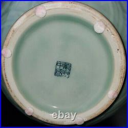 Large Rare Lotus Chinese Celadon Glazed Porcelain Vase 15 H W Dragon Handles