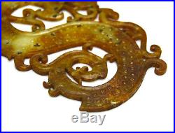 Large Super Carved Antique Chinese Warring State Jade Dragon Pendant