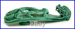 Late 19C Chinese Green Glaze Monochrome Porcelain Belt Buckle Hook Dragon Beast