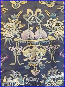 Late Qing Antique Chinese Silk blue Dragon Robe