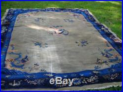 Lovely Early Antique 1910-1920 Shabby Chic Chinese Art Deco Dragon Rug 9x12