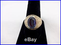 MENS ANTIQUE CHINESE EXPORT M. NOSEY DRAGON & CO. 14K GOLD SAPPHIRE RING, 11.5