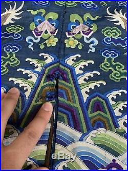 Magnificent Antique Chinese Silk Kesi Kossu Dragon Robe Qing Period