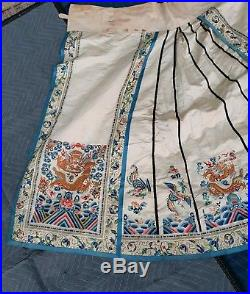 Mangificent Antique Chinese Textile Skirt Dragon And Phoenix 91 In X 36 In