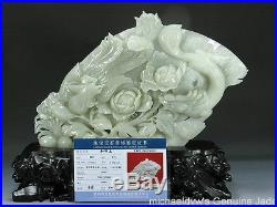 Masterpiece Chinese Hetian Nephrite Jade Dragon Phoenix Antique Big Statue