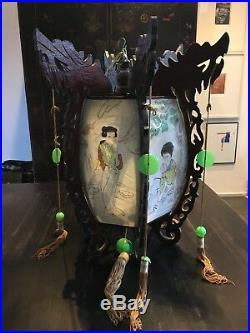 Midcentury Vintage Chinese Lantern/ Light fitting, Painted Silk, Wood Dragons