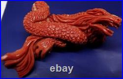 Momo coral dragonhand made carving coral, red coral momo CORAIL rouge korallen