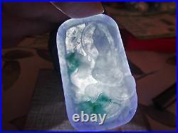 Natural Genuine A Jadeite Jade Icy Lavender Floral Green Kwan Yin Dragon Pendant