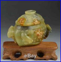 Nephrite jade hand carved pot dragon statue chinese antique vase jadeite old box