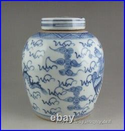 Nice Chinese Old Blue and White Dragon Phoenix Porcelain Lid Jar tank Pot