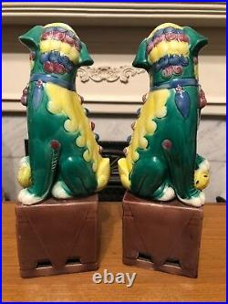Nice Pair of Vintage 1920s 1930s Chinese Coloured Glaze Foo Dog Lion Dragons