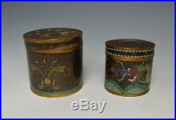 Nice pair antique Chinese cloisonne tea boxes tins dragon