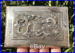 Old Chinese Sterling Silver Repoussé Dragon Symbol Cigarette Compact Case Box