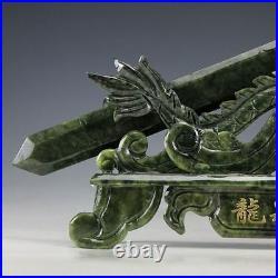 Oriental Vintage Chinese Handwork Carved Jade Dragon Sword Statue @AA