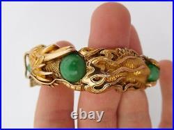 Orig 1895 Arthur Bond Chinese Japanese Meiji 18K Gold Dragon Bracelet Bangle