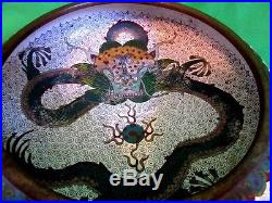 Ornate Antique Chinese Bronze Enamel Cloisonne Bowl Dragon Bowl Brush Washer