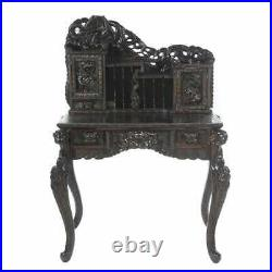Ornate Chinese / Japanese Writing Desk & Chair with Dragon & Mount Fuji Carvings