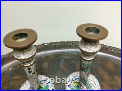 Pair Antique Chinese Dragon Cloisonne Candlesticks 6.5 Tall