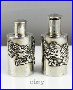 Pair Antique Chinese Export Silver Dragon Salt & Pepper Shakers Wang Hing