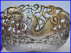 Pair Antique Chinese Export Silver Signed Dragon Pierced Work Bowls / Lamp Fonts