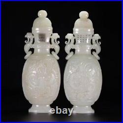 Pair Chinese Antique Jade Dragon Phoenix Vase