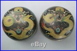 Pair Chinese Cloisonne Black Enamel Dragon Trinket Snuff Pill Box