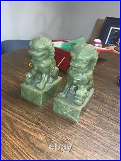 Pair Chinese Export Hand Carved Green Jade Dragon Foo Dog Sculptures 7.5inch