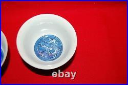 Pair Chinese Porcelain Blue White Kangxi Mark Dragon And Lotus Bowls