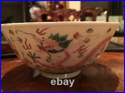 Pair Important Qing Dynasty Famille Rose Dragon Bowls with Original Zitan Box