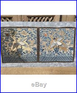 Pair Of Antique 18the Or 19the Century Chinese Rank Badges Robe Dragons Birds