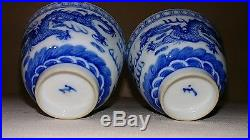Pair Of Antique Chinese Blue and White Glazed Porcelain Cups Five Claw Dragons
