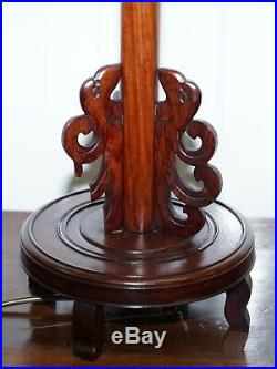 Pair Of Chinese Mahogany Dragon 1920's Hand Carved Wood Table Lamps Part Of Set