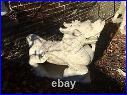 Pair Of Large Antique Chinese White Marble Kirin Or Dragon Horses. Foo Dogs