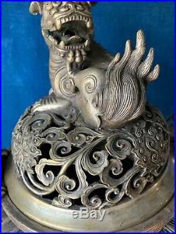 QianLong 3 Leg Urn ANCIENT ANTIQUE CHINESE Dragon Silver Incense Burner j8