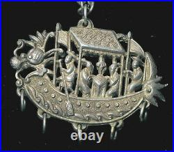 Qing Dynasty Unusual Chinese Sterling Silver Ornate Dragon Boat Scene Pendant