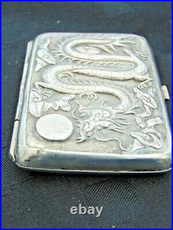 Quality Antique Silver Chinese Raised Decorated Cigarette Case Dragon And Bird