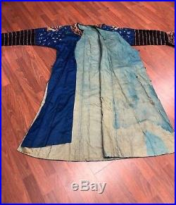 RARE Antique Chinese Asian Silk Embroidered Dragon Jacket Robe Four Claws