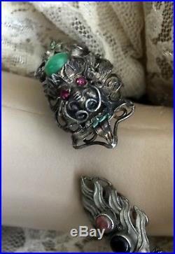 RARE Antique Chinese Export Sterling Silver Jade Ruby Eye Dragon Cuff Bracelet