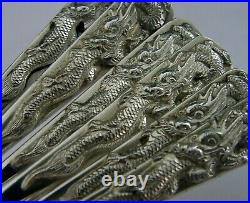 RARE SET OF 6 CHINESE EXPORT SOLID SILVER CAKE FORKS c1900s ANTIQUE DRAGONS 120g