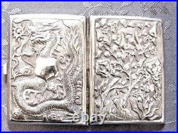 Rare 19th Century China Chinese Export High Relief Dragon Silver Case Box