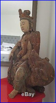Rare Antique 18th Century Large Chinese Kwan Yin Wooden Seated Buddha with Dragon