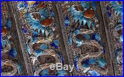 Rare Antique Chinese Silver & Enamel Dragon Bracelet