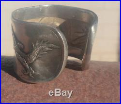 Rare Antique Chinese Silver Export Dragon Wide Bracelet Cuff Victorian Statement