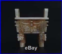 Rare Antique Large Chinese Jade Censer Incense Burner Dragon p17