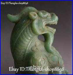 Rare China Ancient Old Jade Carving Dragon Loong Pixiu Brave Troops Beast Statue