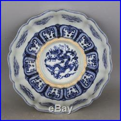Rare Chinese Antique Blue and White Dragon Porcelain Bowl